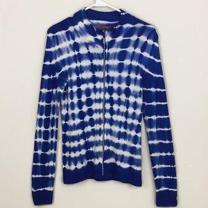 Belldini Blue Tie-dye 2-piece Cardigan Set